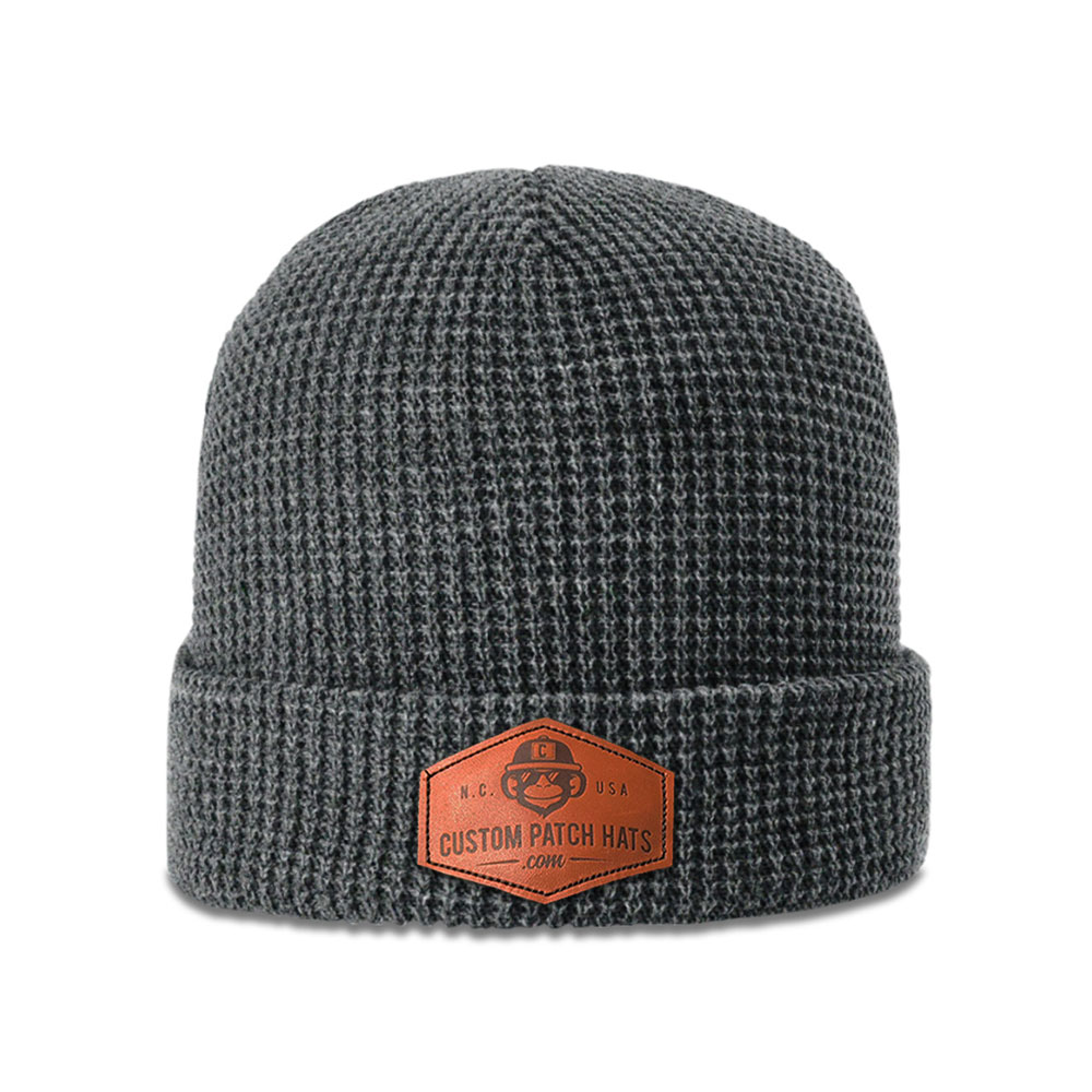 Custom Leather Patch Waffle Beanie