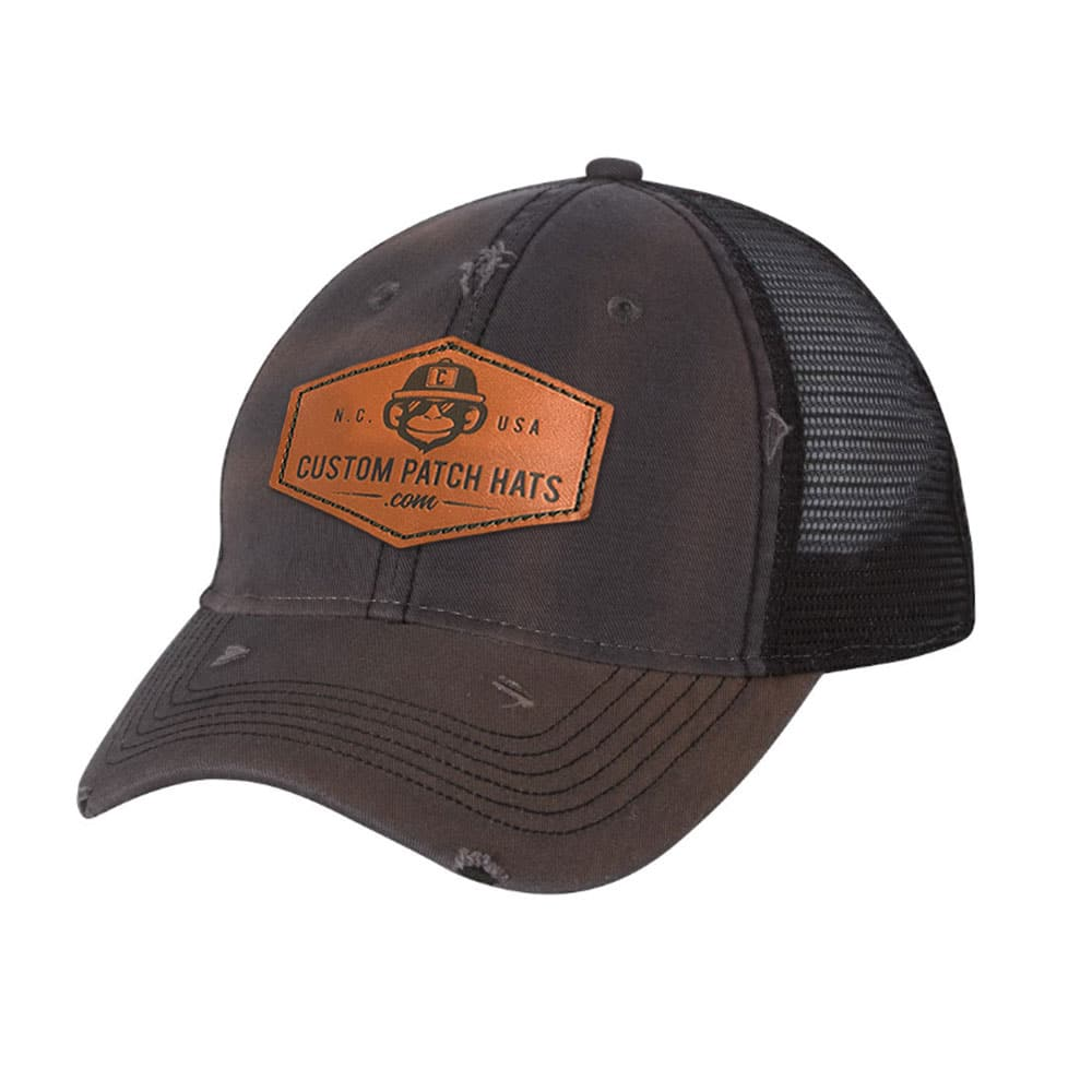 Custom Distressed Trucker Hats With Leather Patches