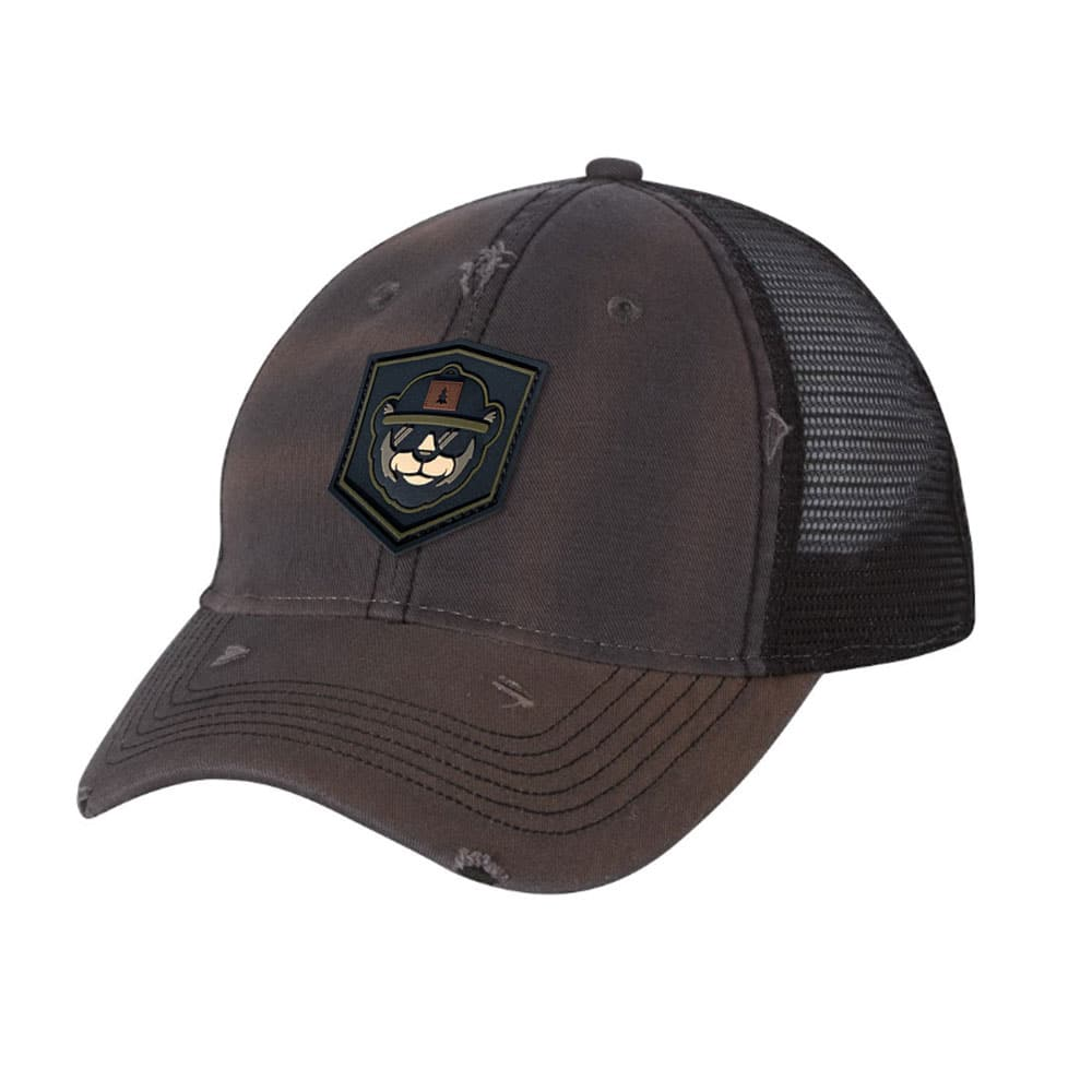 Distressed Trucker Hat With PVC Patch