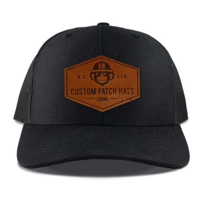 Richardson 112 Black Leather Throwback Patch Hats