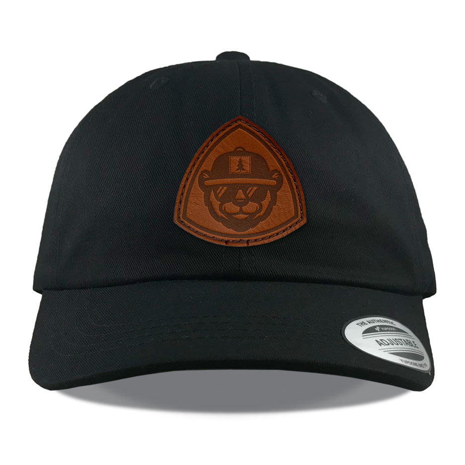 Y6245 Black Leather Bear Patch Hats